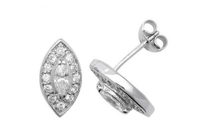 Sterling Silver Marquise Shape Cubic Zirconia Stud Earrings
